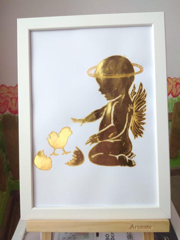 Златна картина Бебе Ангелче